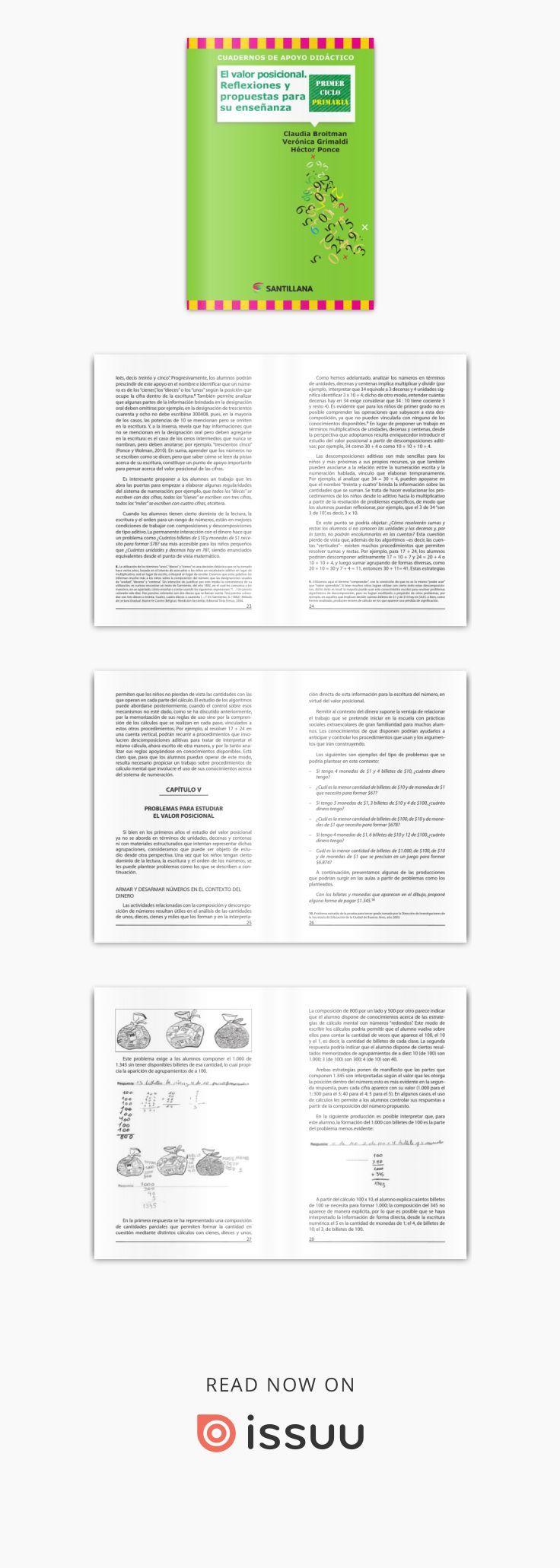 El Valor Posicional Reflexiones Y Propuestas Para Su Enseñanza Cuadernos De Apoyo Didáctico Primer Ciclo Primaria Autores Cl Propuestas Didactico Enseñar