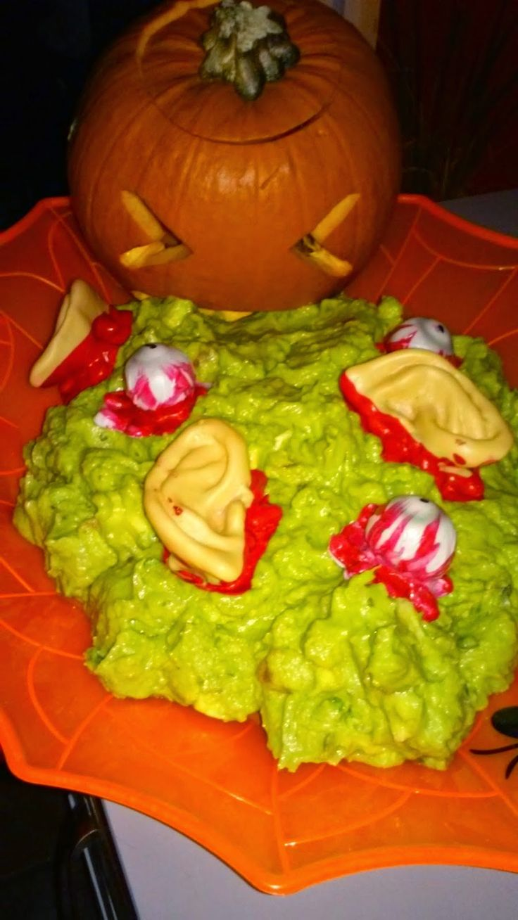 Halloween food puking pumpkin guacamole puking pumpkin