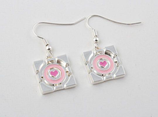 Portal 2 Companion Cube Earrings