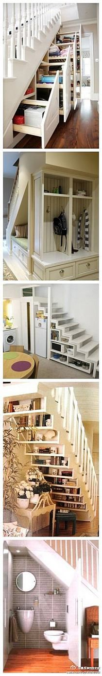 love this use of space under the stairs...