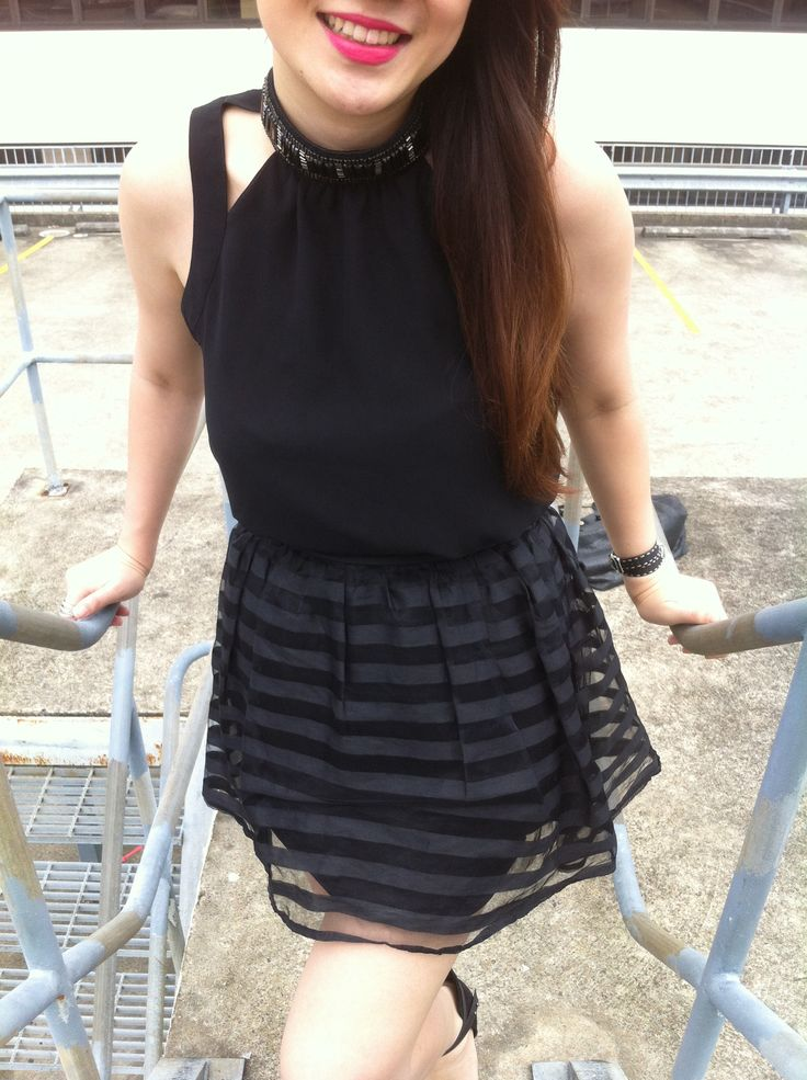 You can't go wrong with all black and a red lip   Black Sportsgirl Top   Black Stripe Topshop Skirt   Impassioned MAC Lipstick  