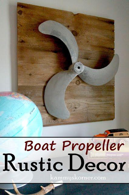 Kammy's Korner: Kammy's Korner:Rustic Boy's Bedroom Decor: boat propeller on reclaimed salvaged barn wood.  Repurposed Pallet Art