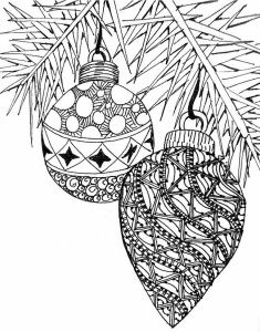 2 zentangle christmas ornaments free coloring page for adults - Free Printable Ornament Coloring Page 2