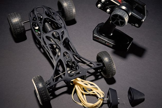 Rubber Band-Powered Remote Control Car