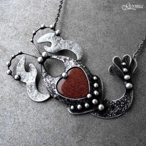 Zamilovaný ráček Klepýtko kámen srdce dárek cín srdíčko narozeniny hnědá valentýn zlato zvěrokruh zlatý cínování avanturín rak štír horoskop germia ráček klepýtko