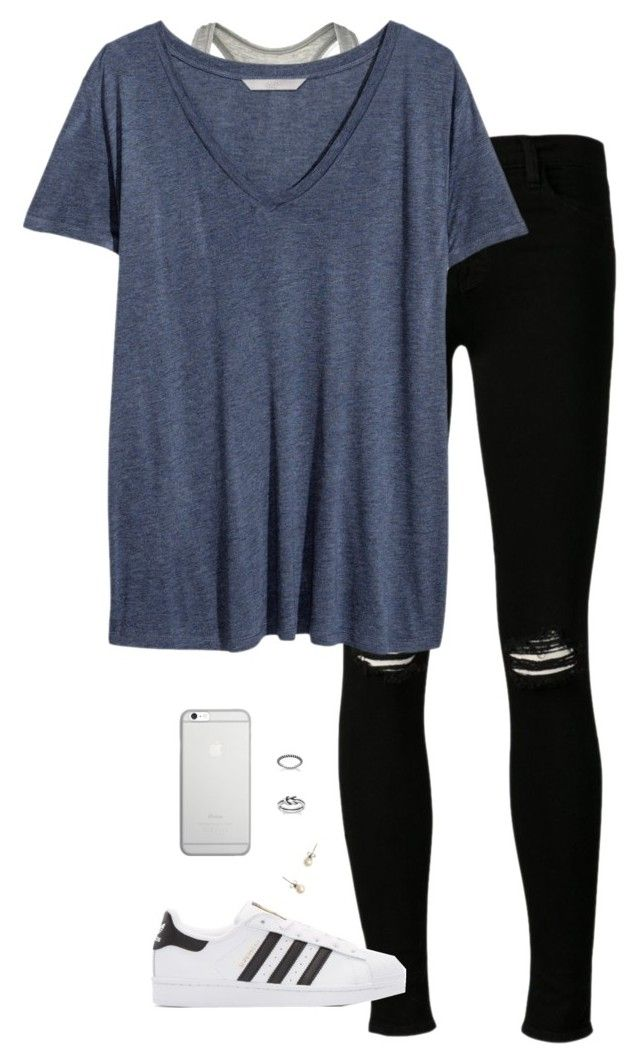 """""""black and blue"""" by tessorastefan ❤ liked on Polyvore featuring Calvin Klein, J Brand, H&M, adidas Originals, Native Union and J.Crew"""