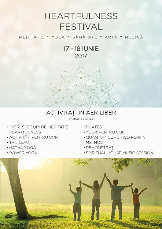 17 - 18 IUNIE - TIMIȘOARA - HEARTFULNESS FESTIVAL PARTICIPAREA ESTE GRATUITĂ! Detalii: http://festival.heartfulness.ro ACTIVITĂȚI ÎN AER LIBER - Power Yoga | mai bună stare generală de sănătate psihică și fizică - Yoga pentru copii | Pot participa copii cu vârsta între 5-11 ani - Pilates | ajută-ți organismul să se mențină în formă - Taijiquan, stilul Chen tradițional | poate fi practicat de orice persoană - Pilates cu benzi | Stare de bine și satisfacție, un corp mai zvelt, muschi alungiți…