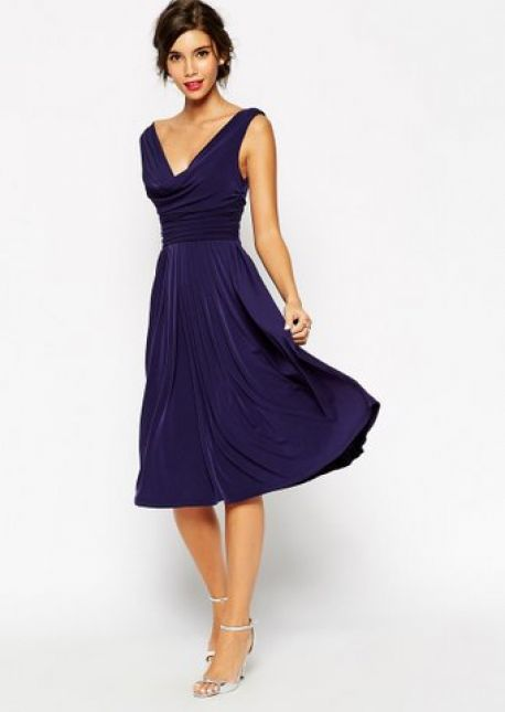Vestido drapeado azul noite – Be fun