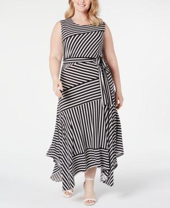 Plus Size Striped Handkerchief-Hem Maxi Dress 13