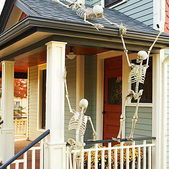 Skeleton-Adorned Porch