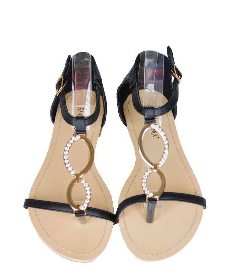 Sandale Dama Energy Black  -Sandale dama  -Design interesant  -Detaliu auriu cu strasuri