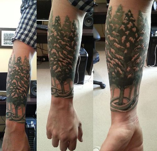Snowy Forest Tattoo. Designed by Yuta Onoda Tattoo by Danica from Empire Tattoo, Adelaide, South Australia.