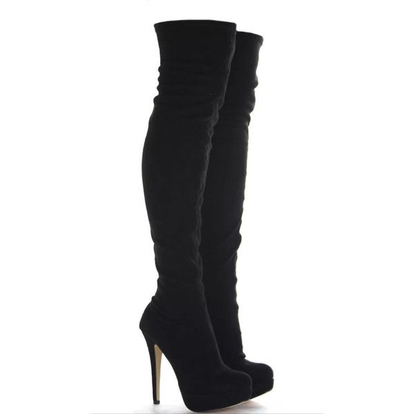 Dani Stiletto Thigh High Boots ❤ liked on Polyvore featuring shoes, boots, above the knee boots, platform boots, sexy thigh boots, sexy stilettos and sexy boots