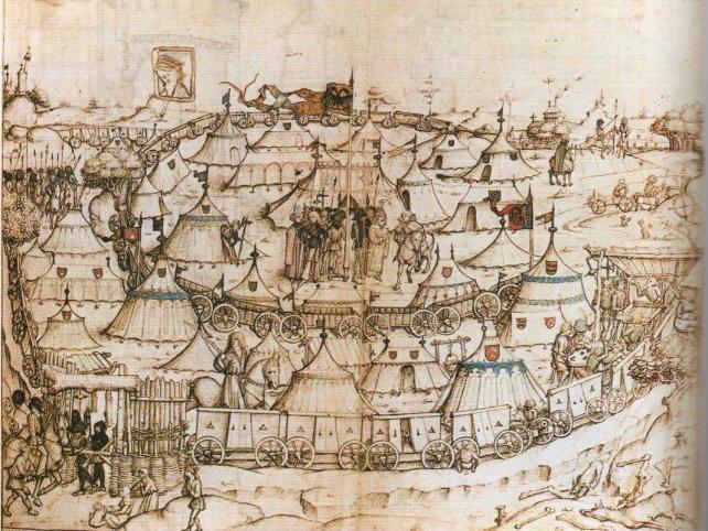 Vers 1480 A propos du camp fermé par des chariots : mediaephile.com
