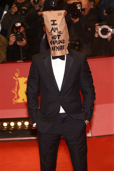 Such a waste.  Shia LaBeouf Wears 'Not Famous Anymore' Paper Bag Over His Head at Berlin Premiere | Gallery | Wonderwall