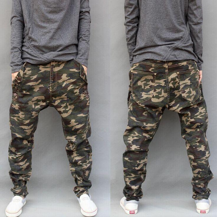 Casual 2016 Mens militar Jeans Camo Hip Hop Plus Size elástica calças Baggy Pants Jogger calças harém marca Homme 28 38 em Calças Casuais de Roupas e Acessórios - Masculino no AliExpress.com | Alibaba Group