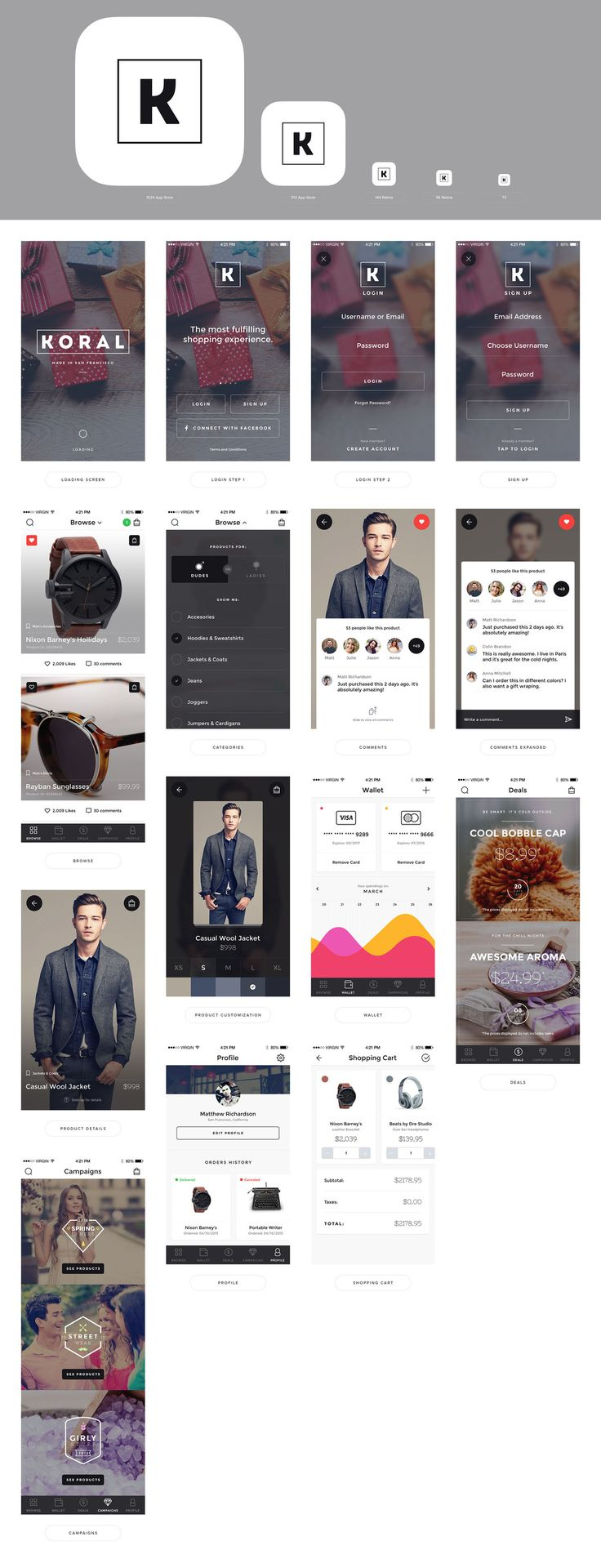 Koral eCommerce iOS Design