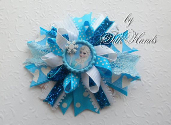 Frozen Bow    Over the Top Bow  Elsa party  Girls by SilkHands