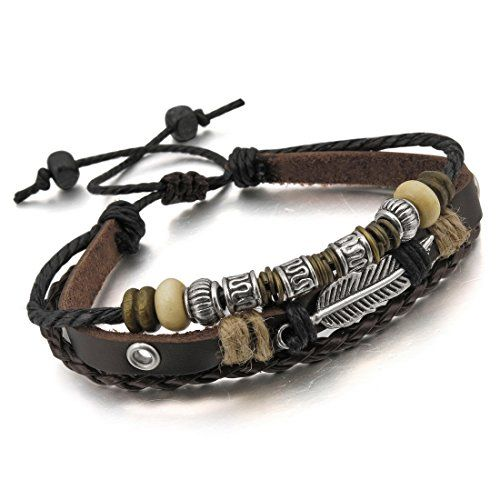 Men,Women's Alloy Genuine Leather Bracelet Bangle Rope Brown Silver Angel Wing Surfer Wrap Adjustable >>> Read more at the image link.