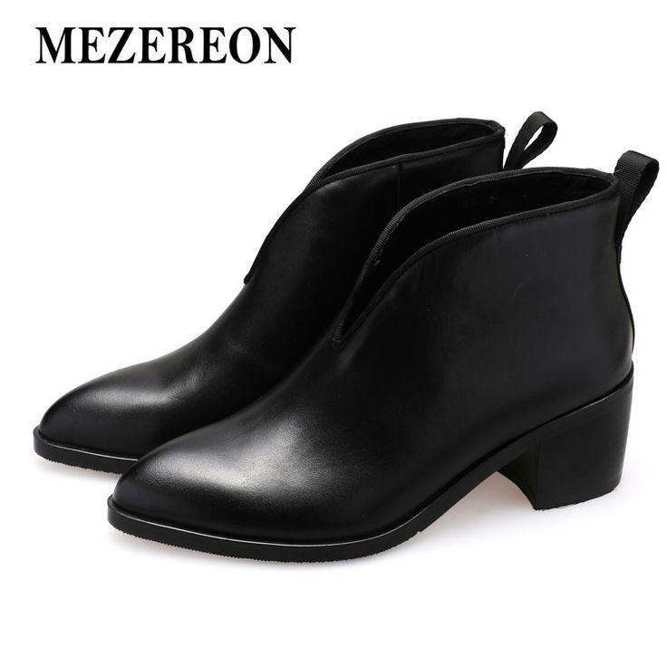 Купить товарMezereon ботильоны модная женская обувь из натуральной кожи зимняя обувь для женщин сапоги слипоны острый носок осенние сапоги в категории Ботильонына AliExpress. Mezereon ботильоны модная женская обувь из натуральной кожи зимняя обувь для женщин сапоги слипоны острый носок осенние сапоги