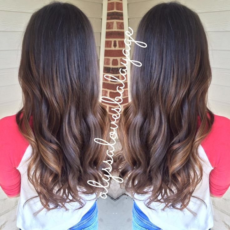 Dark Root Balayage Highlights Curly Hair Brunette