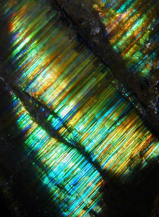 Close-up of rainbow garnet - Iridescent Andradite Garnet from Hermosillo, Mexico