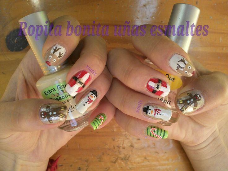 Diseño con el cual gané un concurso de navidad en preunic, nail art, diseño uñas :)