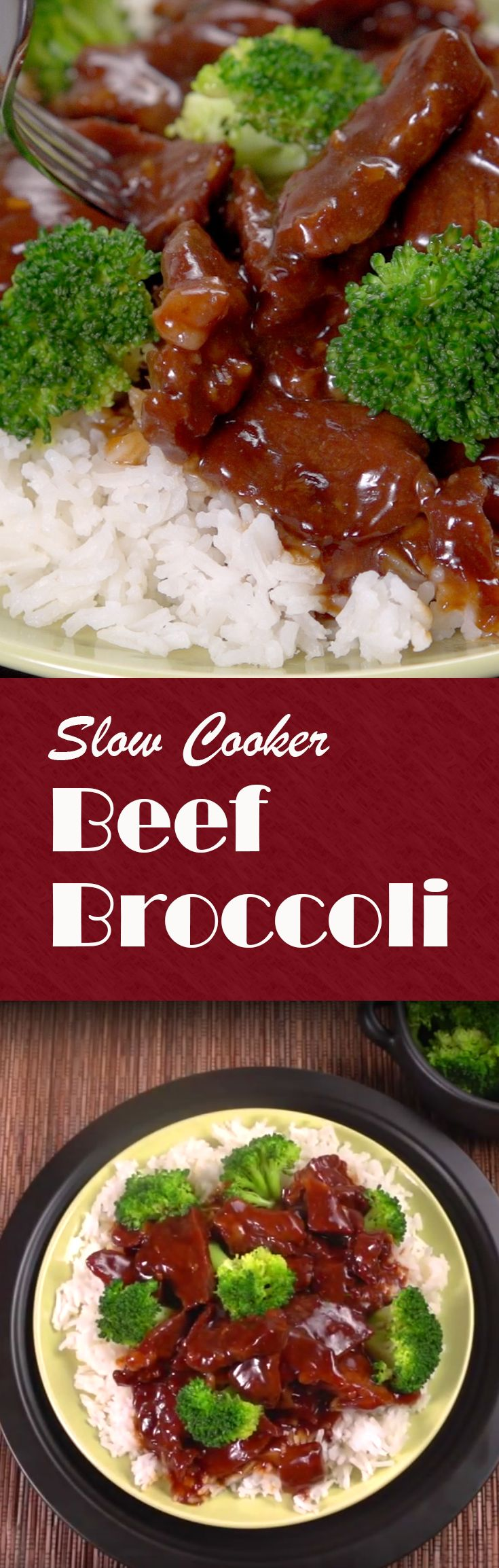 Slow Cooker Beef Broccoli Recipe | Here's a great meal that'll satisfy your hunger! With just ten minute of prep time and 5 hours in the crockpot it's a easy dinner to pull together. You'll need beef chuck roast, beef broth, sesame oil, garlic, chili flakes, soy sauce, brown sugar, cornstarch, broccoli florets and white rice to complete it. Click for the how-to video and complete recipe. #familydinner #easymeals #crockpotcooking #homecooking