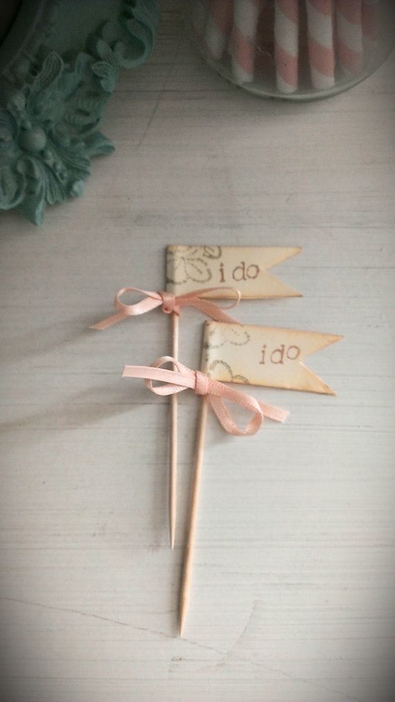 I do flags cupcake toppers cake picks vintage shabby by LiziLoves
