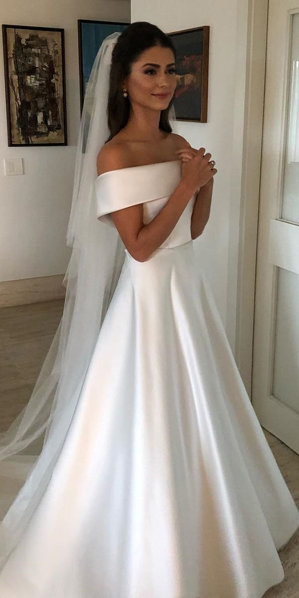 A Line Wedding Dresses Simple Straight Neckline Satin Wanda Borges Vintageweddingdress Off Shoulder Wedding Dress Wedding Dress Belt Simple Wedding Gowns