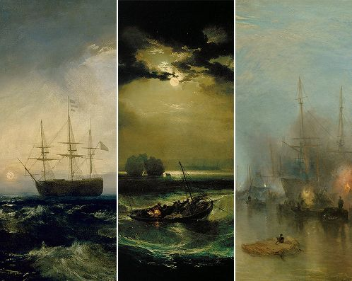 Sheerness as seen from the Nore (1808), Fishermen at Sea (1801), Keelmen Heaving in Coals by Moonlight (1835)  J.M.W. Turner