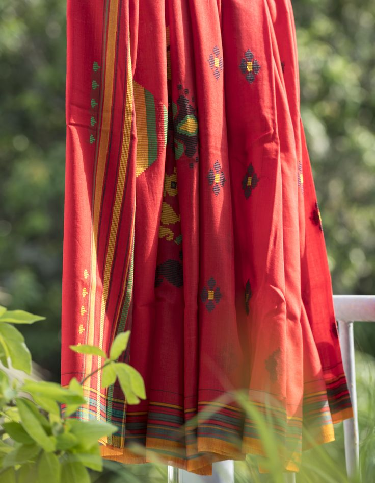 Handwoven Tree of Life tussar cotton sari.