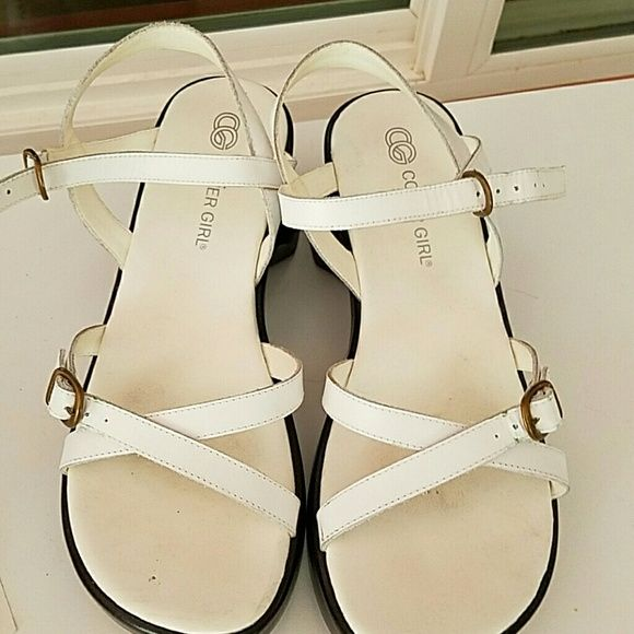 Wedge sandal Strappy white with black wedge cover girl Shoes Sandals