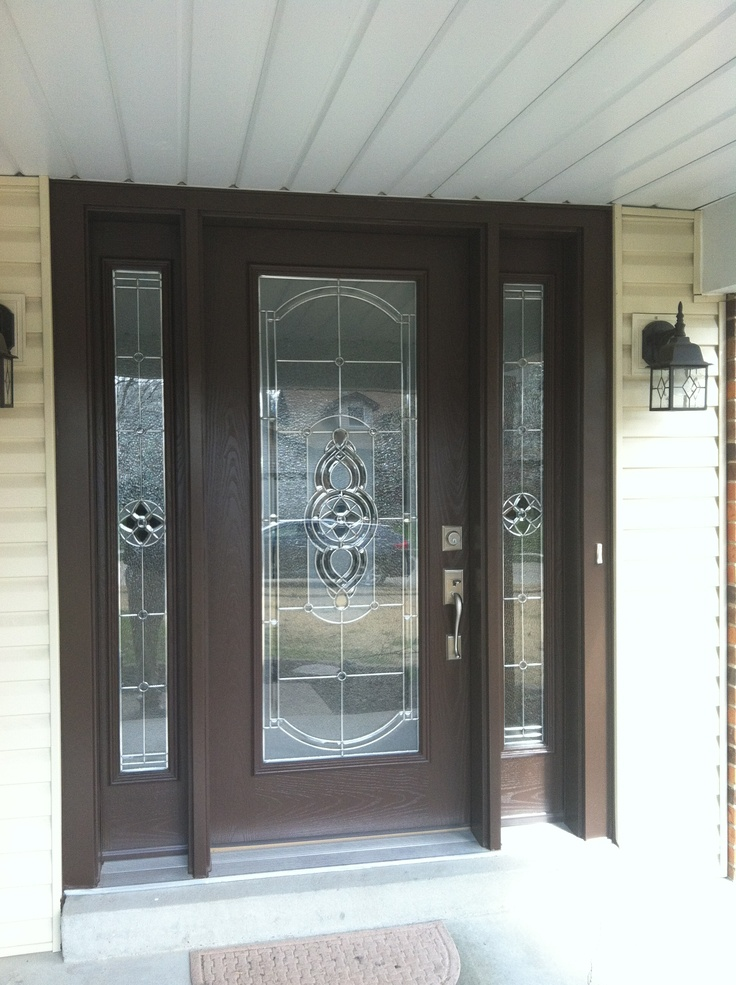 Pro Via Entry Door With Sidelights, Tudor Brown Finish With Cheyenne  Stained Glass/Zinc