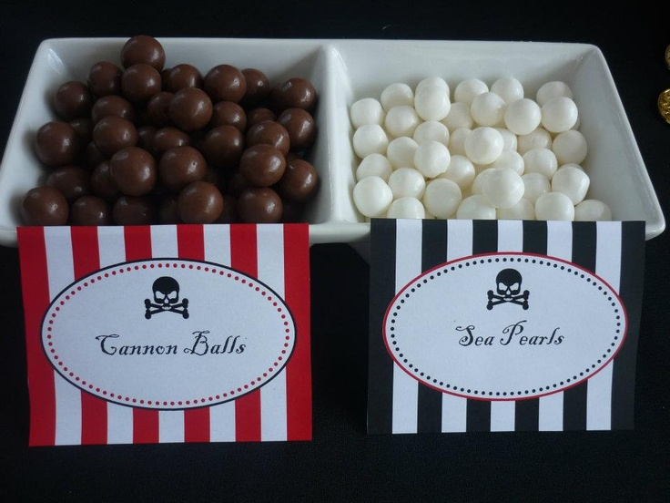 use maltesers for cannon balls and kool mints for pearls at a pirate party