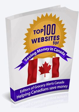 Great Free eBook from groceryalerts.ca that features the top 100 Websites to help you save  money in Canada