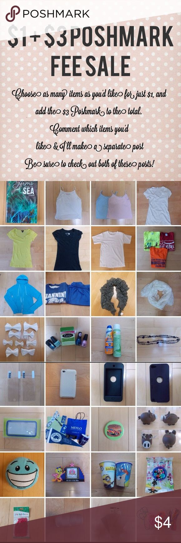 Clothing items have separate posts w/ more info $1 Clearance Sale! -Arms by the Sea by Rich Shapero -Hanes girl's tank top -2 Camisoles -White vneck w/ small foundation stain -Forever 21 Yellow vneck -Arizona Jean Company Black vneck -White Tee -3 Volunteer Tees -American Apparel Blue Jacket, broken zipper -APG MS PE Uniform -Grey Scarf -Lace Scarf -1 White bow -Nailpolish ($1 each) -Sunblock -Aloe spray -2 Graduation Necklaces -1 iPod Touch/iPhone 5th gen screen protector -iPod Touch 4th…