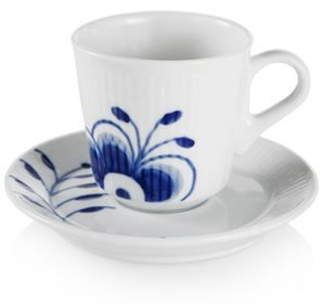 Royal Copenhagen - Espresso kop og underkop 9 cl Blaa Mega Riflet