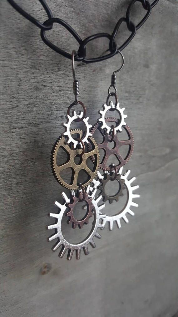 Hey, I found this really awesome Etsy listing at https://www.etsy.com/listing/572295772/steampunk-earrings-gear-rustic-silver