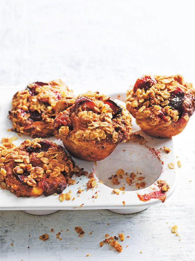 strawberry and ricotta muffins with oat crumble topping