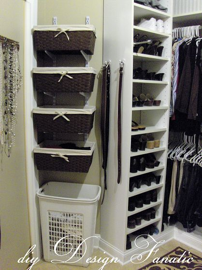 I love the baskets as shelves.. would be so easy to do and a great way to maximize space in a closet or even just hanging on the wall in the bedroom or somewhere..