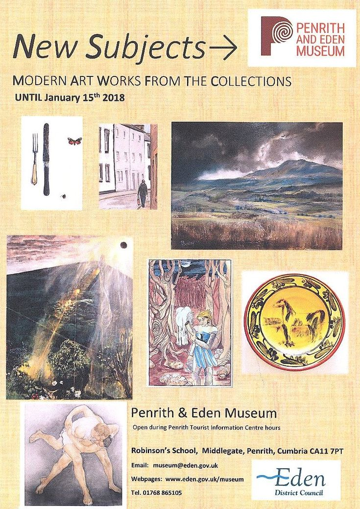 """""""New Subjects"""" Modern Art Works From The Collections Penrith and Eden Museum http://www.cumbriacrack.com/wp-content/uploads/2017/12/NEW-SUBJECTS-.jpg Presently on show at Penrith and Eden Museum is a selection of works in various media by artists with local connections.     http://www.cumbriacrack.com/2017/12/06/new-subjects-modern-art-works-collections-penrith-eden-museum/"""