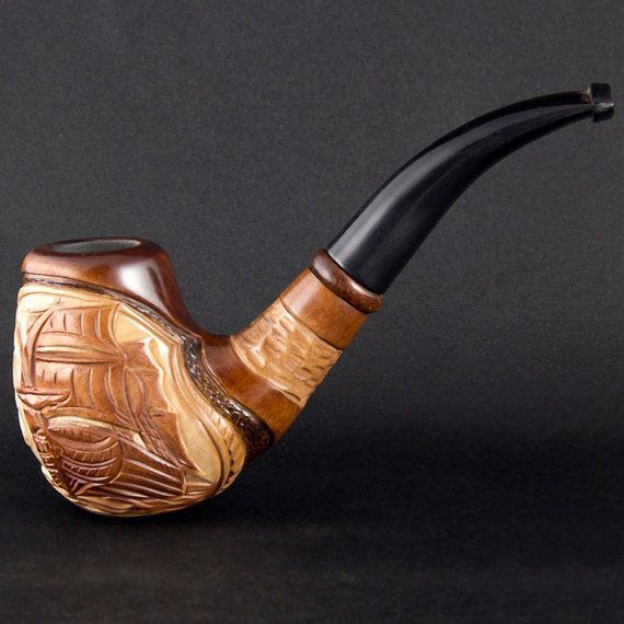 6.1 'Sailing ship' Carved wooden smoking pipe.