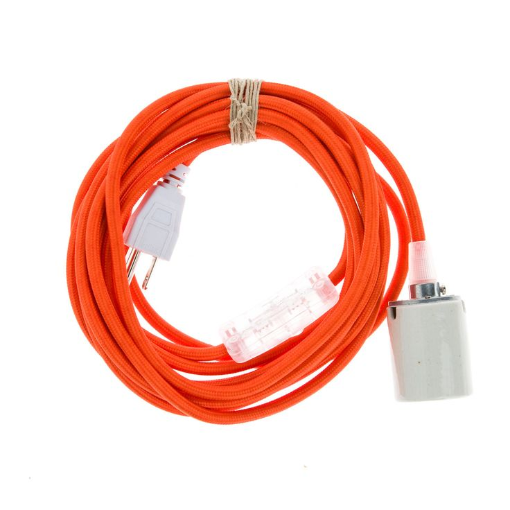 Industrial Pendant Cord Set w/ Porcelain Socket and Orange Cloth Covered Electrial Cord