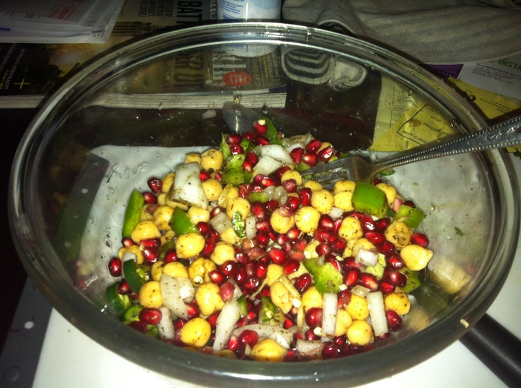 Pomegranate salad: fresh pomegranate seeds, chickpeas, green onion ...