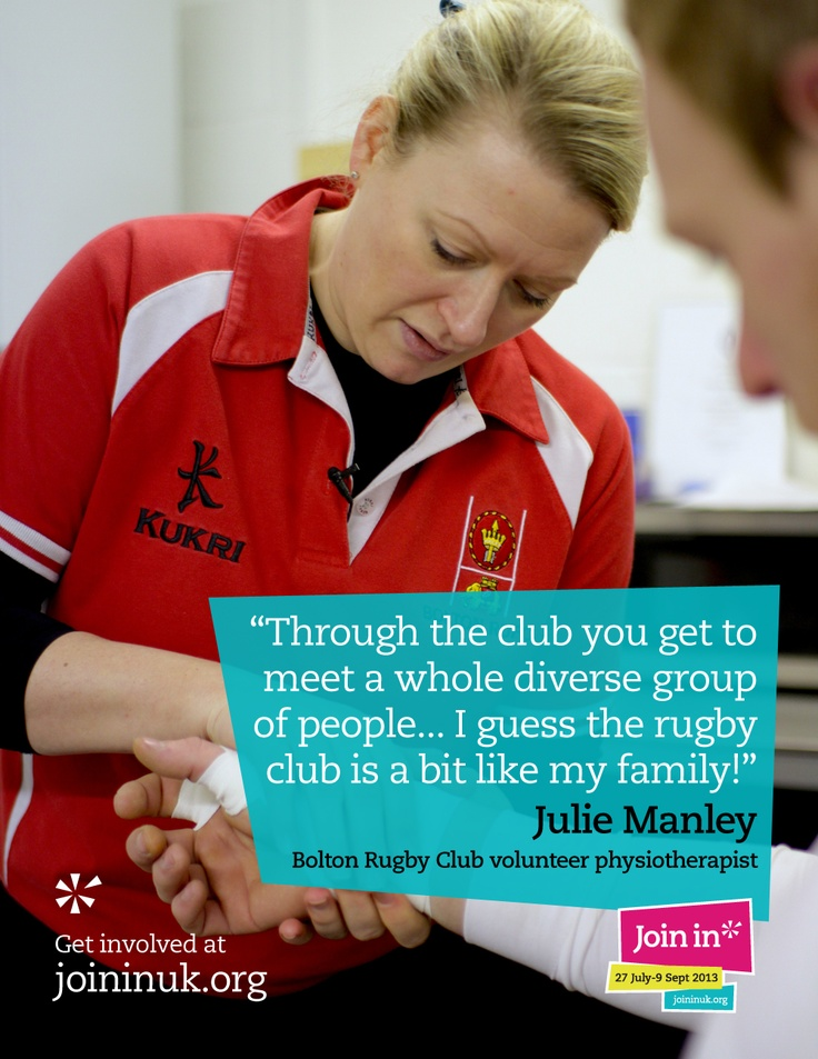 Volunteers help clubs in different ways. Julie Manley patches up rugby players in the physio room so they're fit to smash each other to pieces on the field