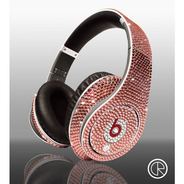 Limited edition Swarovski Light Rose Dr Dre Beats Studio Headphones ❤ liked on Polyvore featuring headphones, beats, accessories, electronics and music