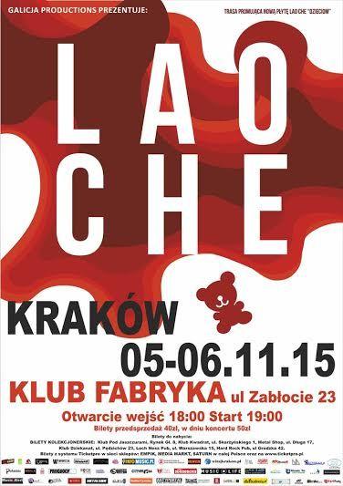 Zostało tylko kilka biletów na czwartkowy koncert Lao Che w Krakowie. Piątek jest wyprzedany. Więcej: http://heavy-metal-music-and-more.blogspot.com/2015/11/bilety-na-krakowskie-koncerty-lao-che.html
