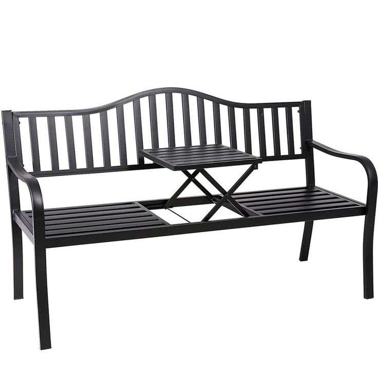 Outdoor Patio Bench Durable Loveseat With Middle Table Garden Chair Double Seat #OutdoorPatioBench