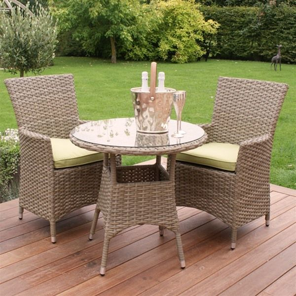Maze Rattan Natural Milan Highback Bistro Set